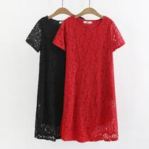 显年轻胖妈妈装140/160/180斤加肥加大码婚礼红色大摆蕾丝连衣裙