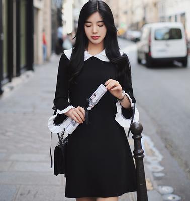 韩国milkcocoa正品代购2018春夏女小香风蝴蝶结收腰喇叭袖连衣裙