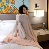 Rabbit ears nightgown female winter coral fleece warm thick shawl cape bathrobe cute autumn and winter rabbit home service