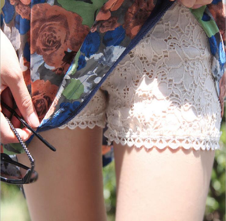 夏季薄款三分安全裤 黑色蕾丝外穿打底裤女 防走光短裤保险裤大码