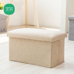 优芬粗麻收纳凳子方形单人凳玩具储物收纳箱 换鞋凳储物凳小沙发