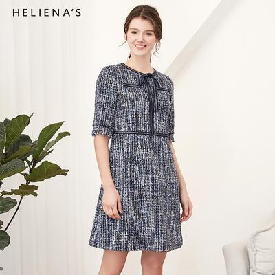 海兰丝2019春季新款女装短袖粗花呢修身显瘦小香风法式复古连衣裙
