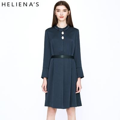 海兰丝新款韩版系带修身立领纯色气质打底裙秋冬长袖连衣裙女