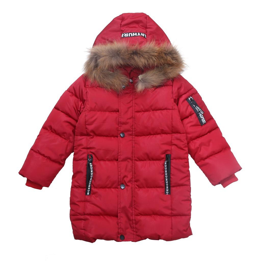 2017新红色棉袄男童冬装中大童外套加厚儿童中长款毛领棉衣童装