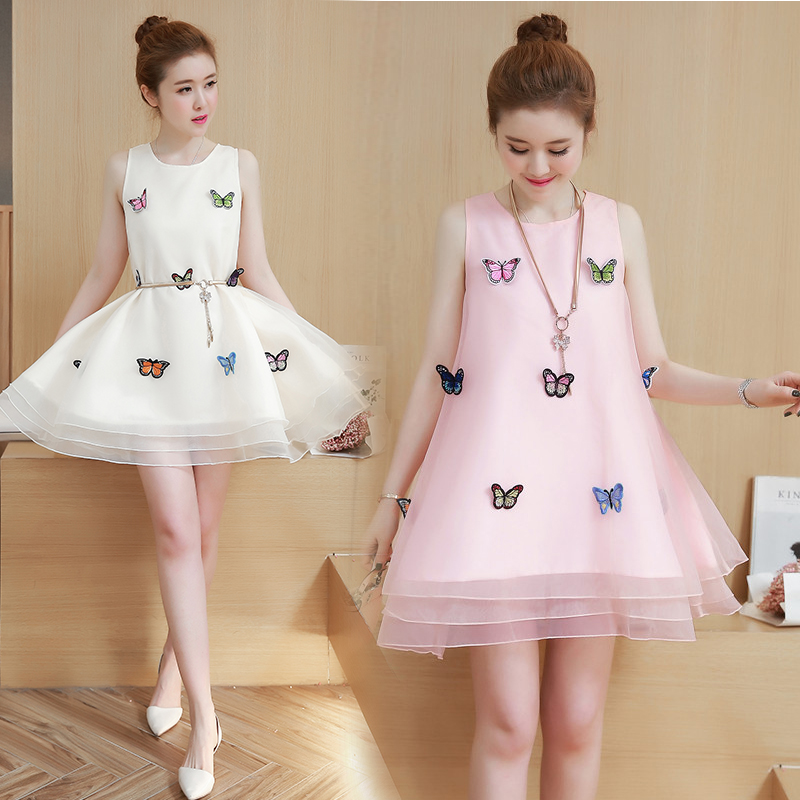 夏季公主裙成年人学生韩版仙少女甜美蓬蓬连衣裙礼服裙子平时可穿