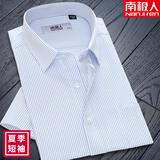 南极人夏季男士短袖衬衫商务条纹纯棉质宽松免烫中年工装半袖薄款