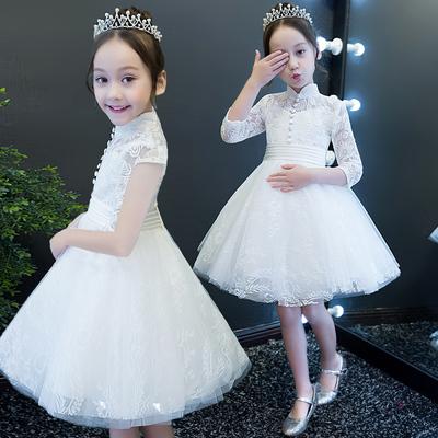 女童礼服小花童白色婚纱裙蓬蓬裙长袖儿童公主裙主持人钢琴演出服66大促