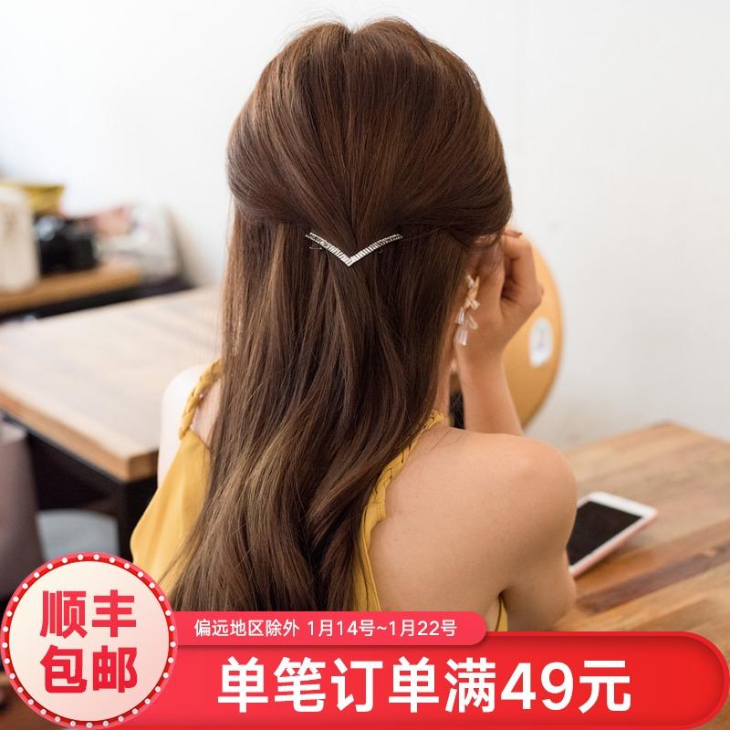 盘发发夹后脑勺顶夹发卡头女发夹子一字夹边夹刘海夹短发发饰头饰