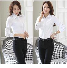 职业衬衫女长袖白色韩范修身2016春新款百搭工作服正装白衬衣工装