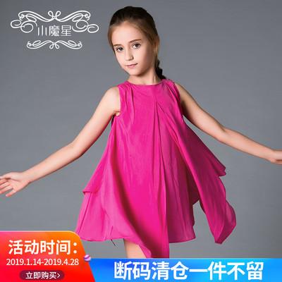 小魔星欧美童装女夏装玫红色背心大女童连衣裙6-12岁小女孩短裙