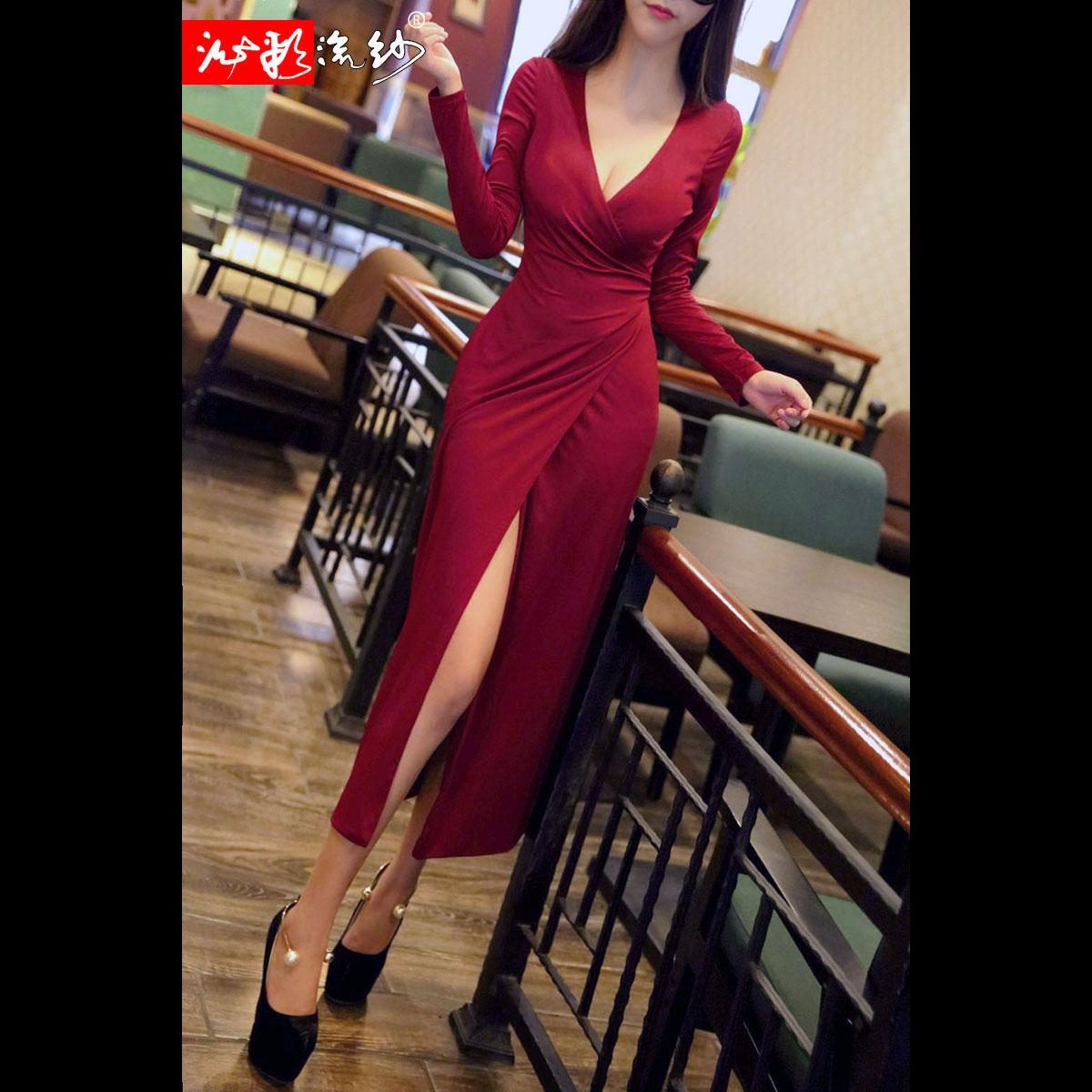 包臀低胸长裙