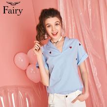【夏热卖】fairy2018夏新款女休闲V领刺绣爱心修身条纹衬衫上衣