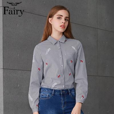 fairy2018秋装新款女装简约休闲条纹红唇绣花衬衫上衣