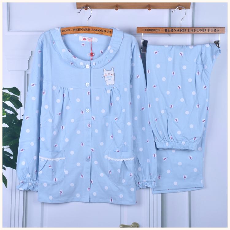 清新两件套甜美可爱卡通冬家居服套装 新果儿睡衣女秋季纯棉长袖