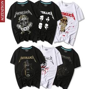 夏纯棉圆领半袖短袖男装摇滚周边青少年T恤乐队metallica重金属