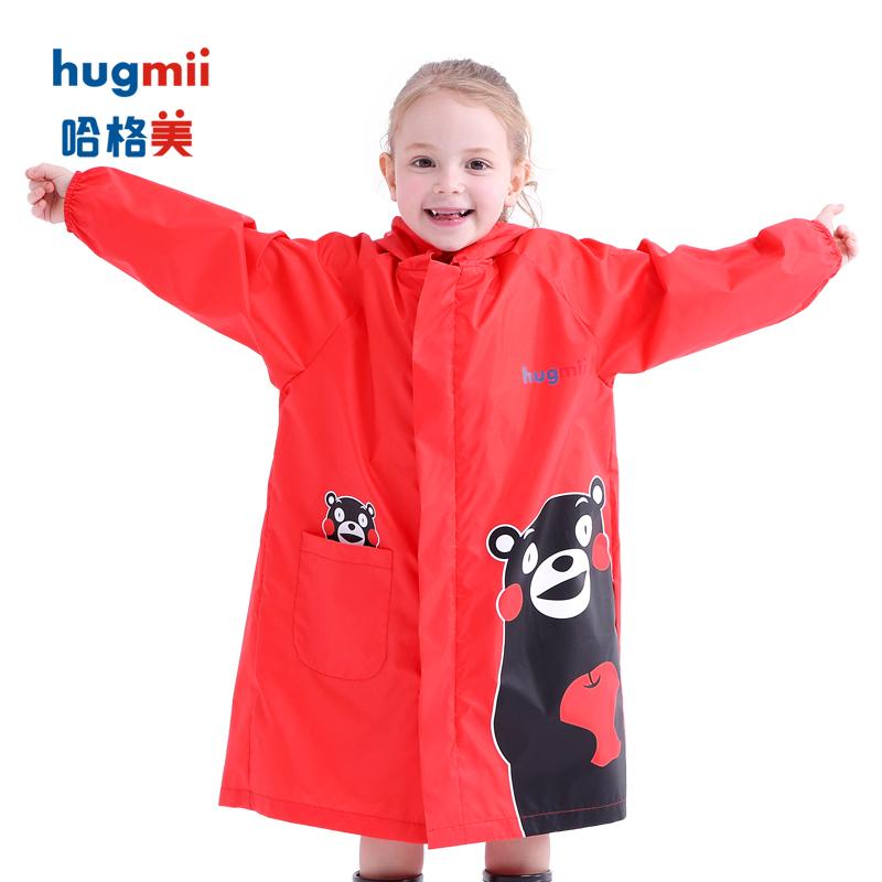 hugmii儿童雨衣熊本熊男女童大帽檐透明帽檐幼儿园小学生卡通雨披