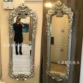 欧式复古穿衣镜美式奢华全身壁挂镜卧室玄关家用镜子服装店试衣镜