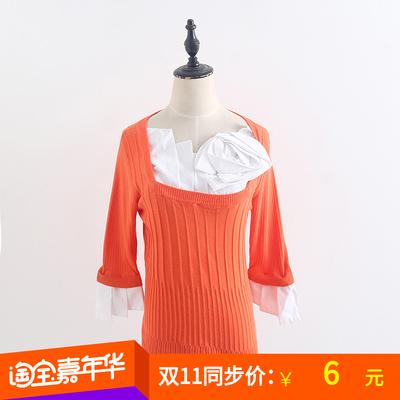 2018秋冬韩版套头圆领纯色长袖打底衫荷叶袖修身毛衣保暖内搭女装