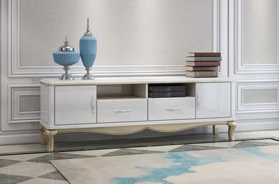 恩嘉依欧式时尚简约进口橡胶木全实木柜脚白色亮光烤漆储物电视柜