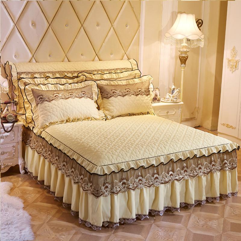 申牟家纺 欧式夹棉蕾丝花边床裙加厚加棉床罩单件席梦思床套床围