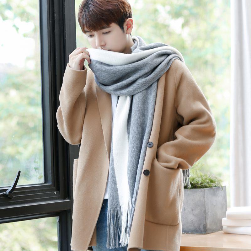 韩版围巾男冬季简约百搭针织男士围巾毛线围脖加厚学生长款年轻人