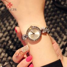 正品julius聚利时百搭手表女韩版钢带女士手表时尚潮流水钻手链表