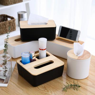 创意实木盖纸巾盒多功能餐巾纸盒家用客厅抽纸盒简约遥控器收纳盒特价精选