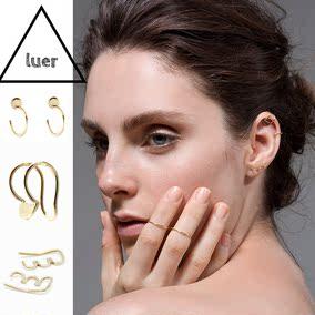 欧美极简系列 luer925银个性圆块耳夹波浪耳钩中性风情侣男女通用