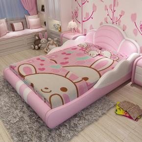 儿童床女孩公主床粉色女孩小孩床1.5单人床带护栏男孩创意个性床