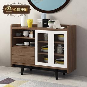 客厅实木橱柜烤漆厨房微波炉收纳碗