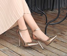 四季男反串女高跟鞋 14cm腕带尖头电镀跟大码 年会演出41424344金色