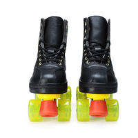 Good brother! The first layer of leather skating rink special double row skates four wheel with wear-resistant PU wheel