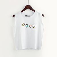 日系可爱卡通少女无袖T恤女韩版宽松学院风学生软妹白色外穿背心