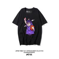 JKTEE原创潮牌卡通印花短袖T恤女韩版宽松BF风夏季黑色百搭半袖