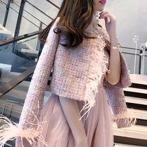 派对女王原创网红女神范儿名媛气质拼羽毛粉色小香风粗花呢短外套
