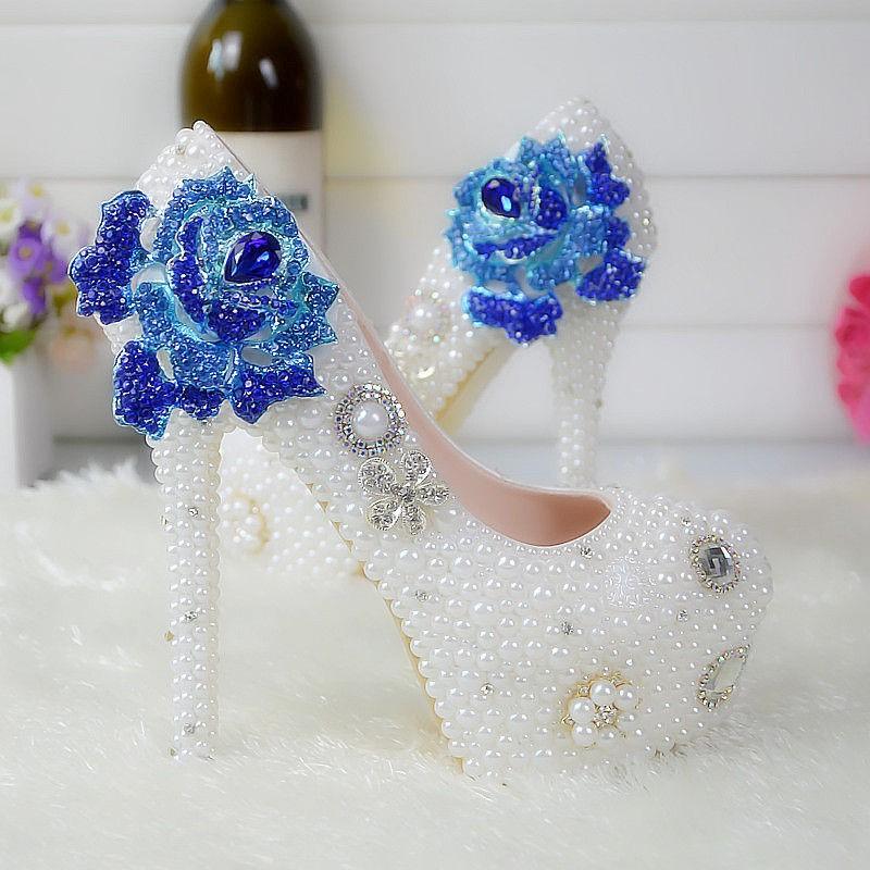 大码白色珍珠水晶鞋婚鞋新娘鞋镶钻手工女鞋结婚鞋
