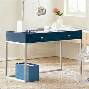 现代简约不锈钢桌腿带抽屉实木书桌家用学生电脑桌写字台时尚家具