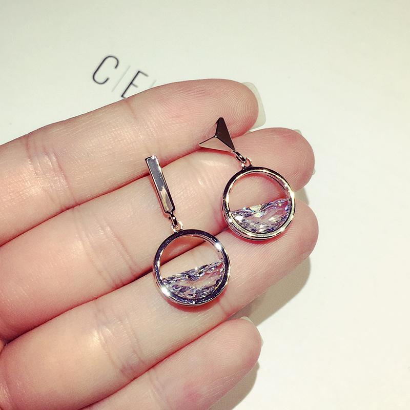 韩国时尚气质几何人工锆石耳环女简约短款耳钉耳坠百搭网红耳饰潮