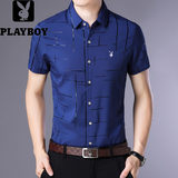 Playboy men's short-sleeved shirt summer thin section coupons free hot business middle-aged shirt official flagship store