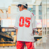 Oskool White No. 05 Baseball Clothes Hiphop Bboy Hip-hop Show Class Clothes Tide