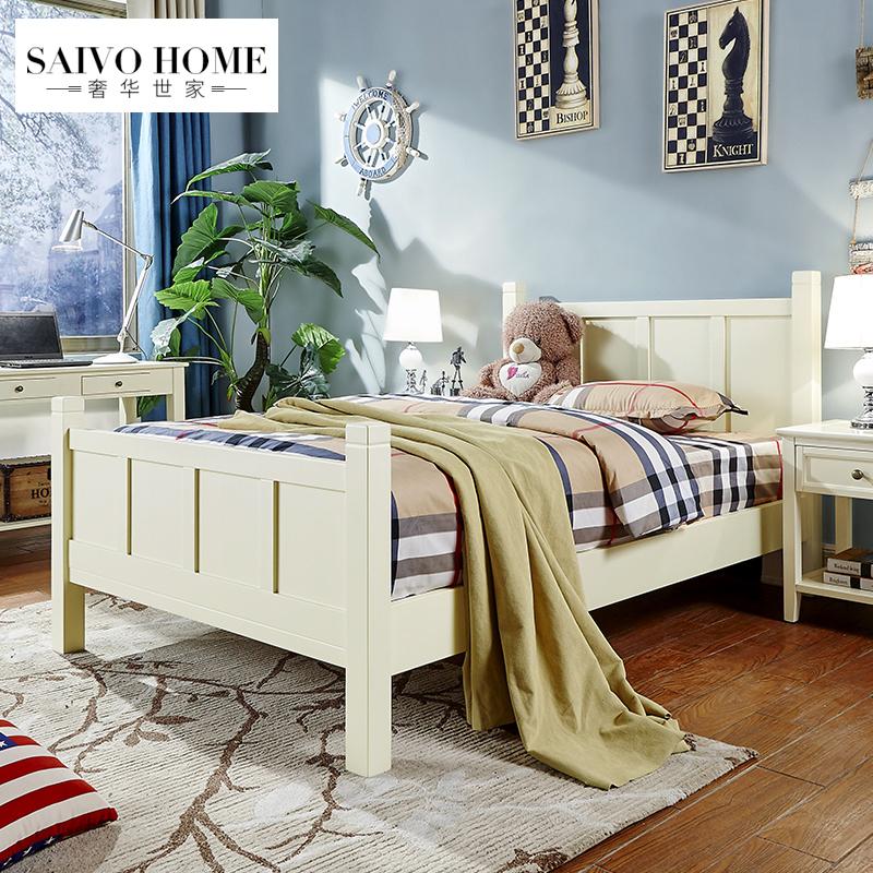 美式床橡木儿童床