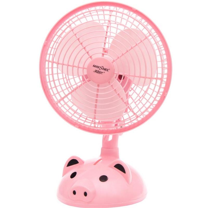 学生卡通小猪动物扇家用台式便携迷你小风扇 学生宿舍摇头电风扇
