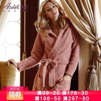 娅茜内衣冬季新款女士性感长款保暖长袖浴袍珊瑚绒家居服睡衣睡袍