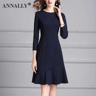 Annally2018秋冬新款时尚优雅修身显瘦鱼尾荷叶边藏蓝色连衣裙女