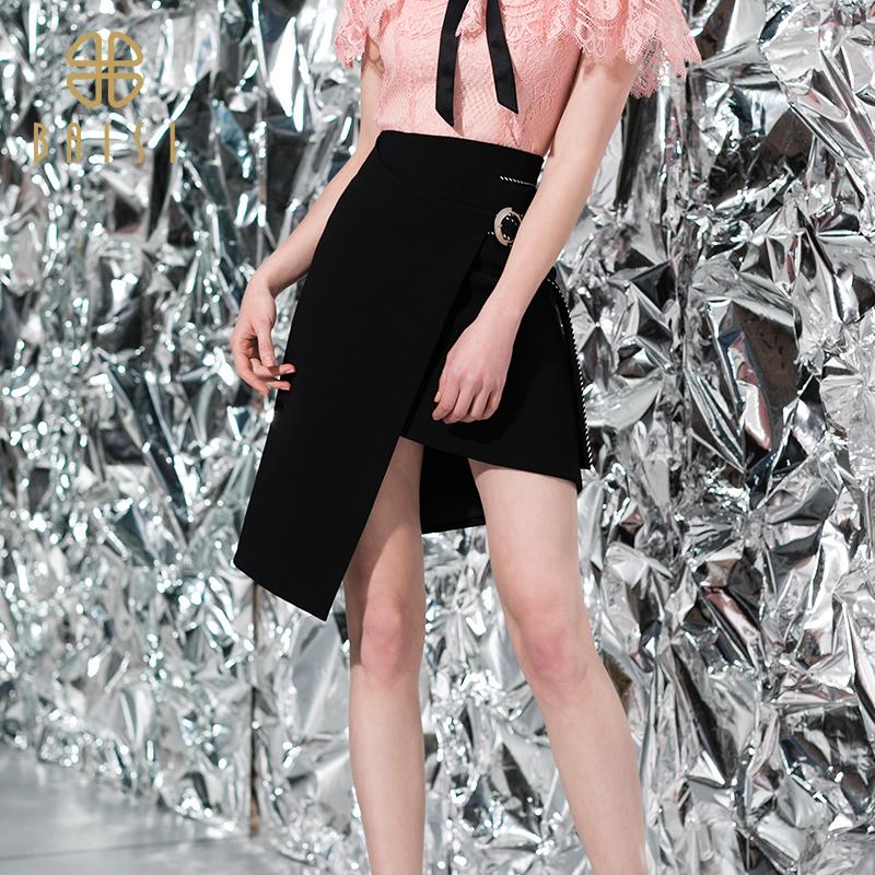 百丝时尚半身裙2019夏季新品时尚高腰不规则裙摆包臀半身裙女