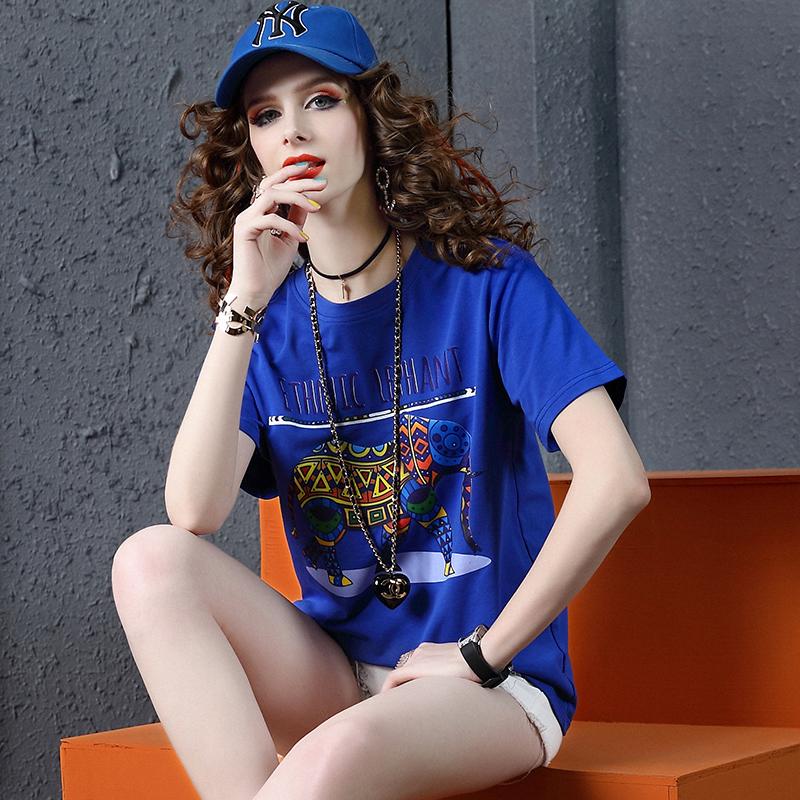夏装短袖T恤女欧洲站2019新款时尚百搭潮牌卡通印花圆领宽松体恤图片