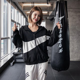 QTS Running Sports Jacket Women's Autumn Wear New Long-sleeved Yoga Top Quick Dry Loose Hood Casual Fitness Dress