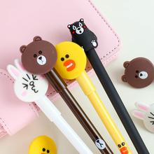 恋纸癖 卡通软胶黑色中性笔 萌兔熊本小熊可爱水笔签字笔0.38mm
