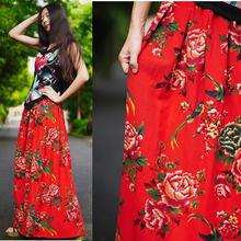 此岸歌声*原创设计店-红色土花布长蓬裙  被珍惜的情意