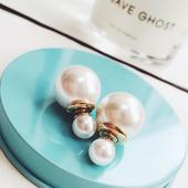 宋慧乔同款前后式大小珍珠耳钉韩国气质个性耳环耳饰配饰装饰品女